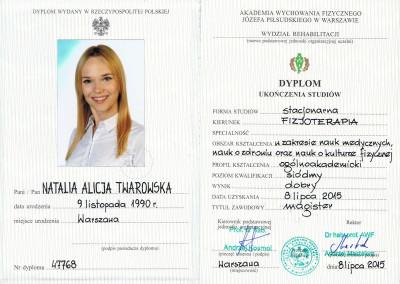rehabilitacja dzieci warszawa certyfikat natalia twarowska