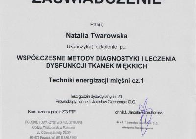 Natalia Twarowska zaświadczenie