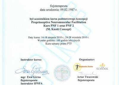 Kornel mikołajczyk certyfikat szkolenia metoda PNF