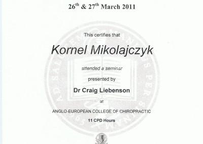 Kornel Mikołajczyk - certyfikat hiropraktyk