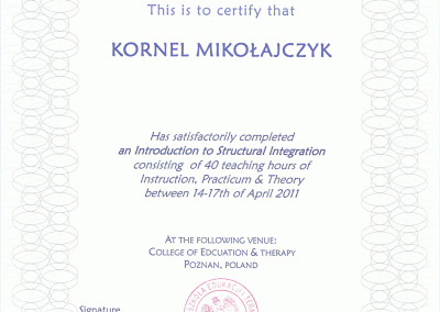 Kornel Mikołajczyk - certyfikat integracja sensoryczna