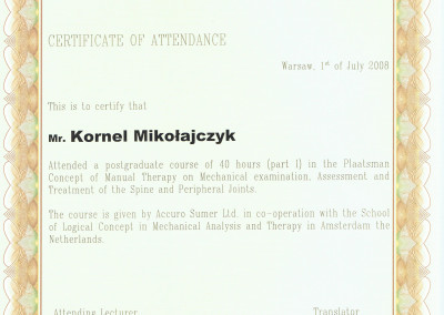 Kornel Mikołajczyk - Certyfikat rehabilitacji II